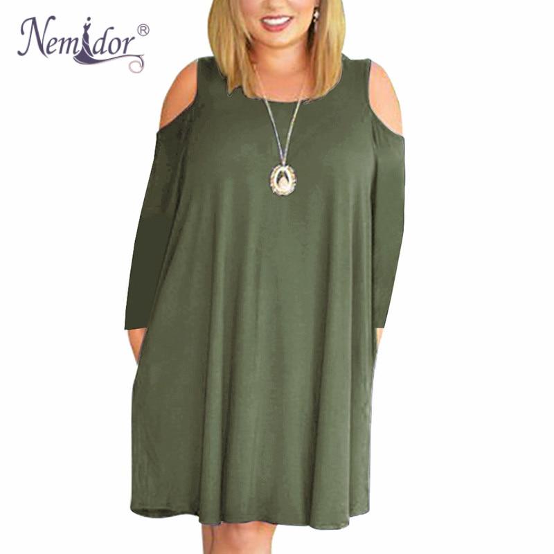 Nemidor Women's Cold Shoulder Plus Size Casual T-Shirt Swing Dress with Pockets (2)