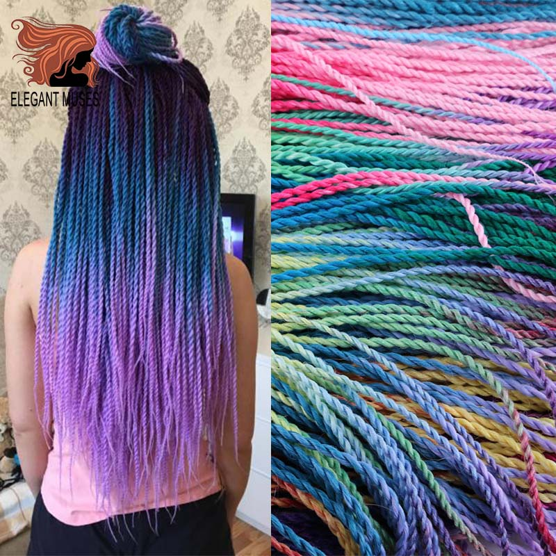 Ombre Senegalese Twist Hair Crochet Braids 24 Inch 30 Roots/pack Synthetic Braiding Hair For Women Grey,blue,pink,bro