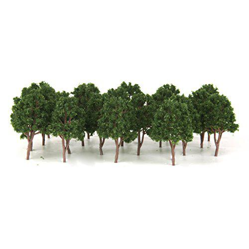 GloryStar 20pcs Miniature Tree Models Train Scenery Railroad Supplies Dard Green 7.5cm