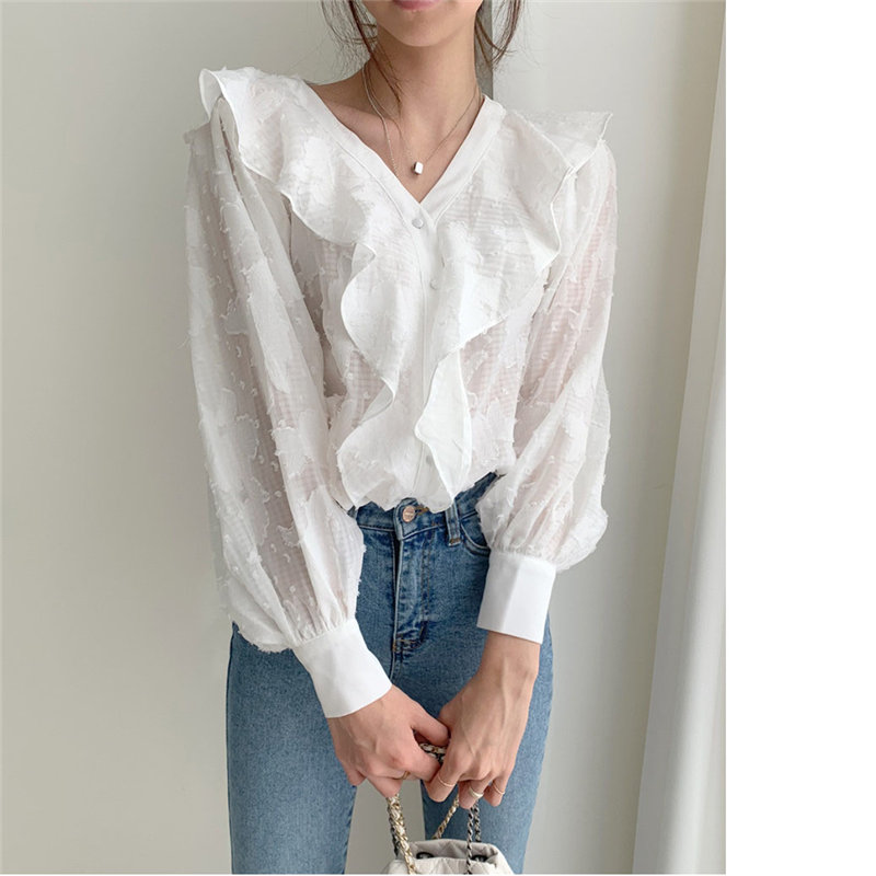 HziriP New Design Ruffles Tassel Blouses 2020 Hot V-neck All-Match Gentle Loose Sweet Elegant Chic Casual Office Lady Shirts