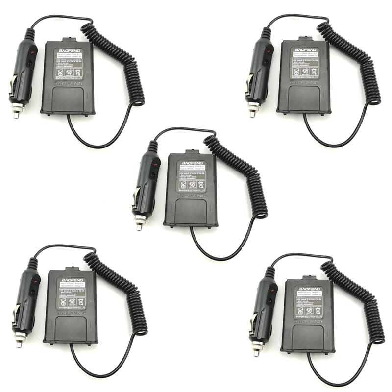 5pcs Walkie Talkie Battery Eliminator Car Charger Adapter For Baofeng UV-5R UV 5R UV-5RE F8+ DM-5R Ham HF Two Way Radio UV5R