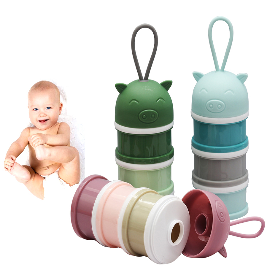 3 Layers Pp Silicone Baby Food Storage Food Snack Box Milk Boxes Toddle Kid Milk Container Food Box Baby Bibs Feeding Eco-Friend