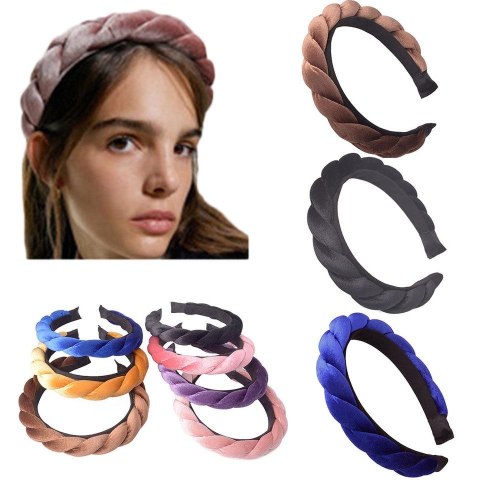 Velvet Braid Headband with Teeth Korean Twists Hairband Women Girls Head Wear