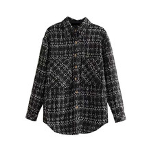 Tops Pockets Plaid Jacket Coat Women 2019 Korean Fashion Lapel Collar Long Sleeve Ladies Outerwear Chic Loose Women Tops цена