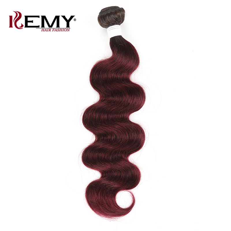 Brazilian Hair Weave Bundles KEMY HAIR Body Wave Ombre Red Color 100% Human Hair Weaving 1 Piece Non Remy Hair