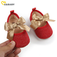 Ma&Baby 0-12M Valentine's Day Baby Girl Red Shoes Spring Autumn Cute Princess Bow Knitted Crib Shoes For Girls