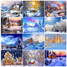 5D DIY diamond painting landscape winter full square/round diamond embroidery kit mosaic rhinestone decoration gift cross stitch