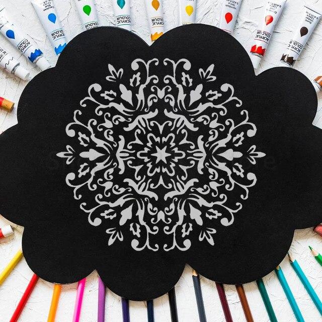 6 pièces Mandala dessin modèle mur pochoir peinture gaufrage pour carreaux de sol en bois modèle artisanat modèles