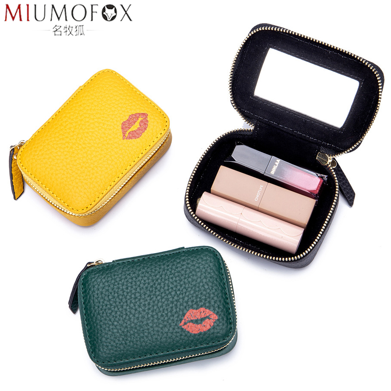 2020 New Women Lipstick Bag Genuine Leather Female Makeup Pouch With Mirror Earring Bag Portable Girl Mini Cosmetic Storage Case