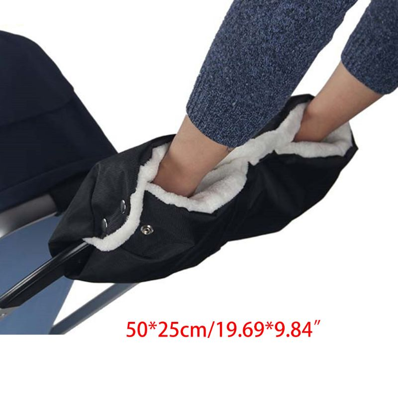 Winter Thick Plush Waterproof Baby Stroller Hand Muff Kids Infant Pram Handlebar Cover Parents Windproof Glove Mitten Bag Warmer