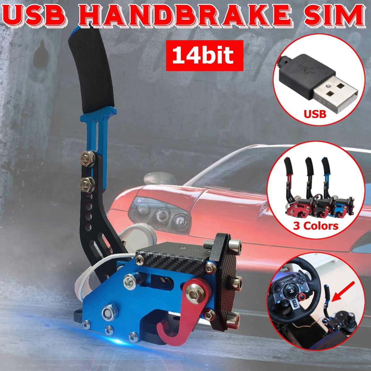 USB Handbrake Clamp PC Windows 14Bit PC For Sim Racing Game For Logitech G25 G27 G29 T500 T300 FANATECOSW For LFS DIRT RALLY