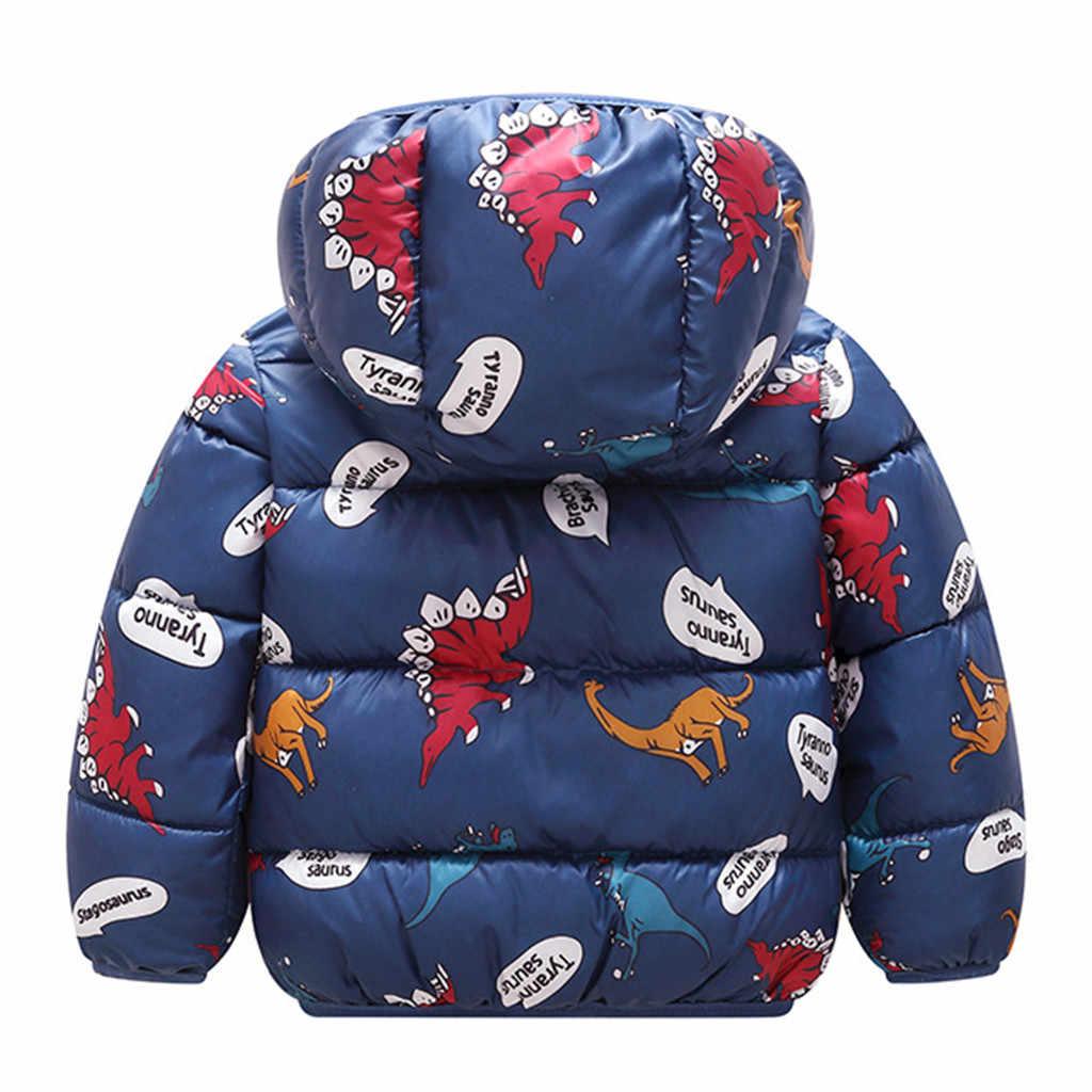 Ceket erkek 2019 kapşonlu kışlık ceketler dinozor baskı Parkas bebek erkek kalın sıcak giyim çocuk ceket çocuk giysileri
