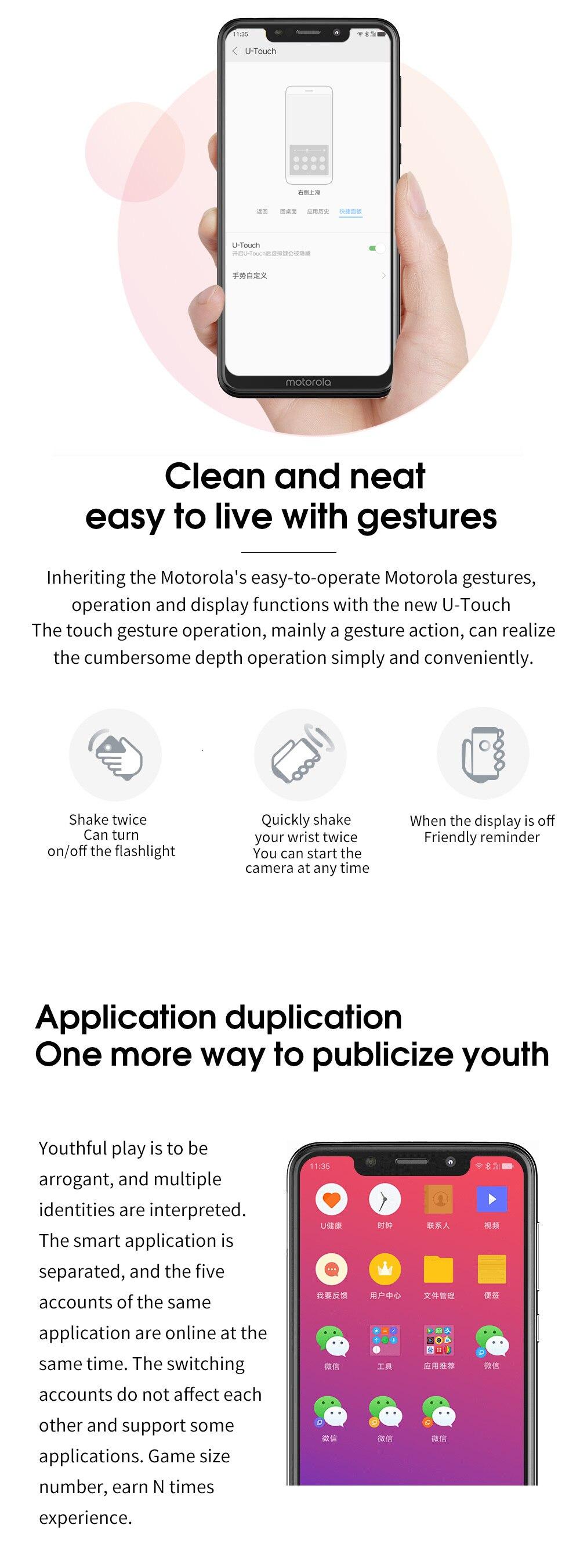 H336c03d63cfc43ec8b674b5be555a22f1 Moto One Mobile Phone 4GB 64GB AI Camera Smartphone 2.5D Double-sided Glass Body Octa Core Phone Support Face Fingerprint Unlock