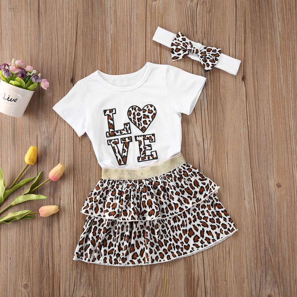 UK 2PCS Baby Girl Clothes Leopard Long Sleeve Top Bodysuit+Tutu Skirt Outfit Set