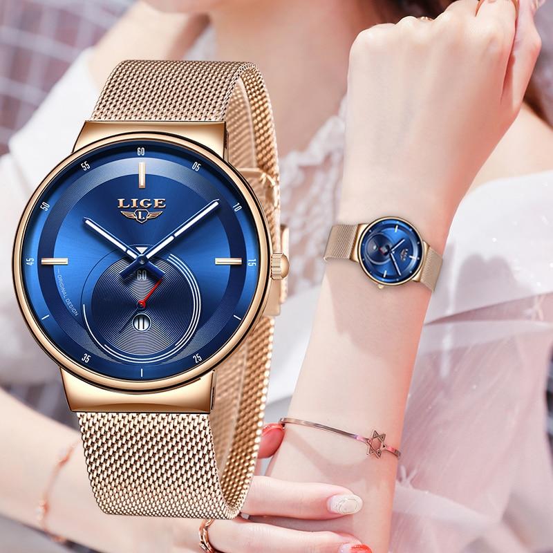 2020 LIGE Women Watches Blue Fashion Watch Women Mesh Waterproof Clock Slim Quartz Ladies Watch Relogio Feminino Zegarek Damski