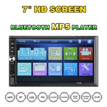 7 pulgadas Universal doble Din In-Dash coche de MP5 bluetooth manos libres pantalla táctil de alta definición 1080p (no DVD)(China)