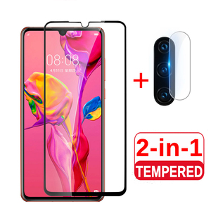 2 in 1 protective glass for huawei p30 lite camera back cover for huwei p30 pro p40 p 30 light 30lite 30pro tremp glas lens case(China)