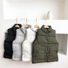 Mooirue Korean Harajuku Winter Vest Women Solid Casual Streetwear Pockets Straight Sleeveless Jackets Vintage Coats