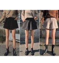 Женские шерстяные шорты с высокой талией серые и черные теплые