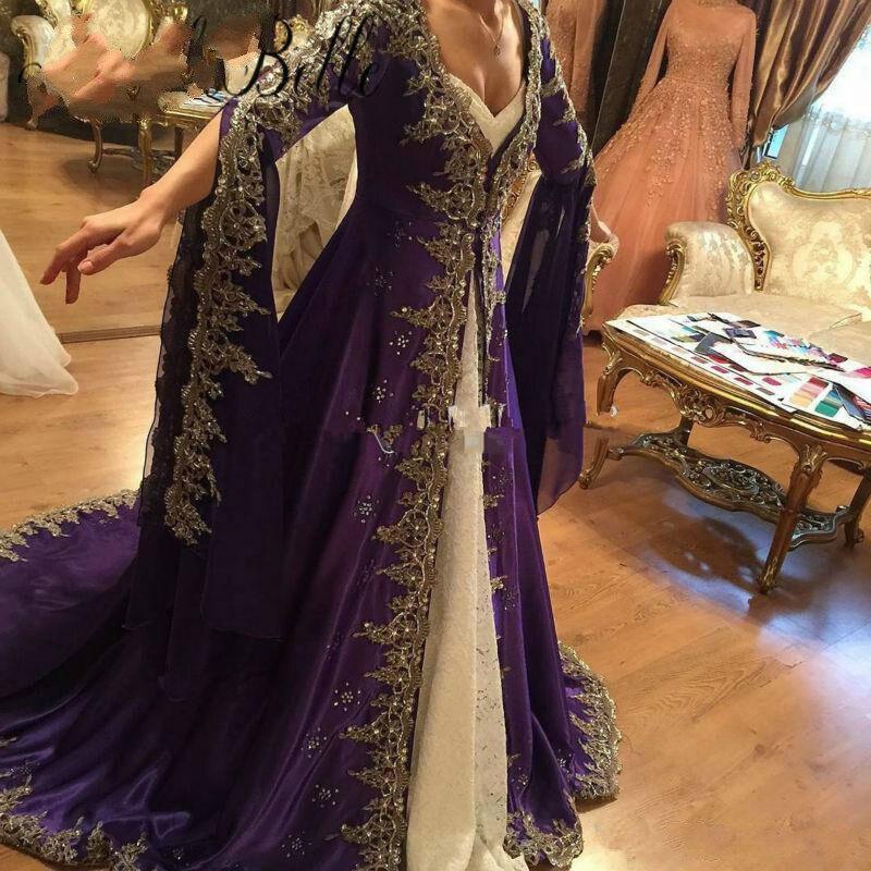 Купить фиолетовое мусульманское вечернее платье с длинным рукавом дубай