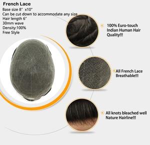 Image 5 - קו שיער בלתי נראה צרפתית תחרה שיער החלפת לגברים מולבן קשרים 6 אינץ משלוח סגנון תחרה פאה גברים שיער הודי שיער טבעי
