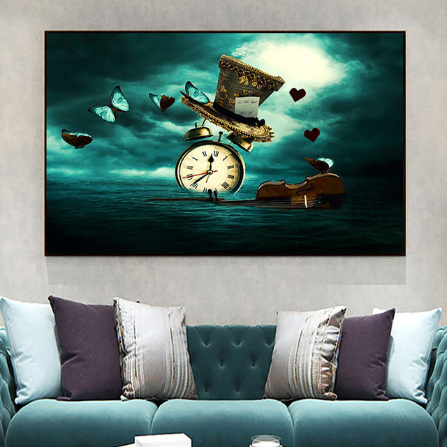 Clock Violin Butterfly Hat Surrealism Painting Printed on Canvas 3