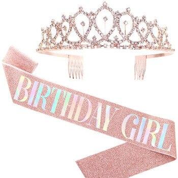 Corona de brillantes de cristal ostentosa, Tiara, decoración de aniversario de cumpleaños,...