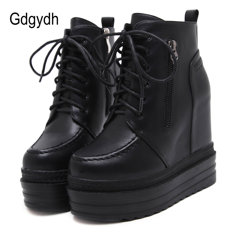 Gdgydh Women's Autumn Boots Platform Women Height Increasing Short Boots Zipper Black Goth Punk Wedge Shoes With Ankle Strap New