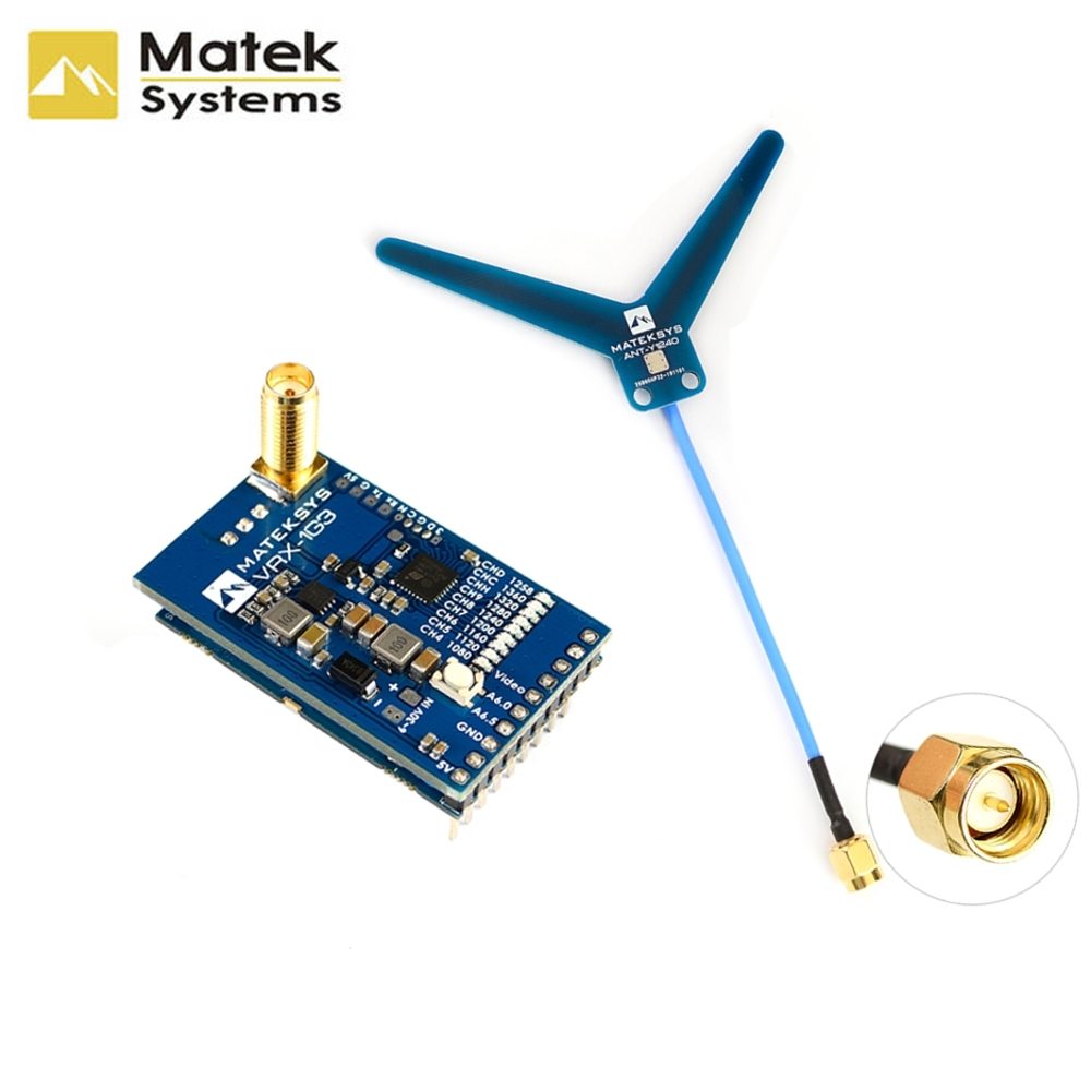 Matek System Mateksys VRX-1G3 VTX-1G3 1.3GHz FPV Video 2CH 9CH Transmitter 9CH Wid Band Receiver RC Drone Long Range Goggles