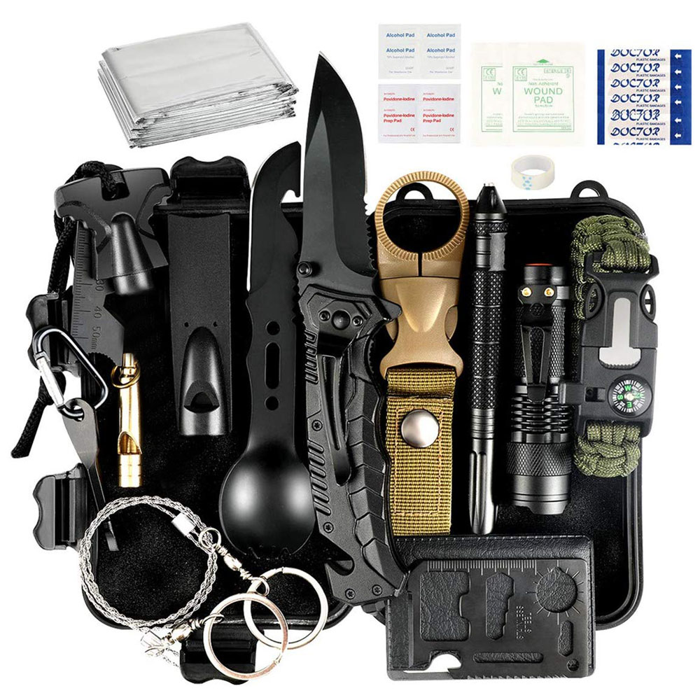 35pcs Survival Kit Christmas Birthday Gifts For Men Outdoor Emergency Tactical Survival Gear For Cars Camping Hiking Hunting