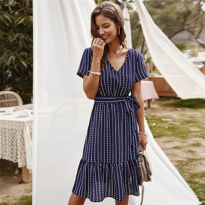Summer <font><b>Dress</b></font> Women Party <font><b>Sexy</b></font> Striped Clothes A-Line Short Sleeve Sashes Lace Up <font><b>Midi</b></font> Empire V-Neck Elegant Robe Fille Vestidos image