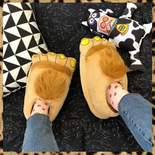 лучшая цена Winter Indoor Slippers Plush Home Shoes Women Men Children Funny Hobbit's Paw Slippers for Christmas Monster Dinosaur Claw Plush