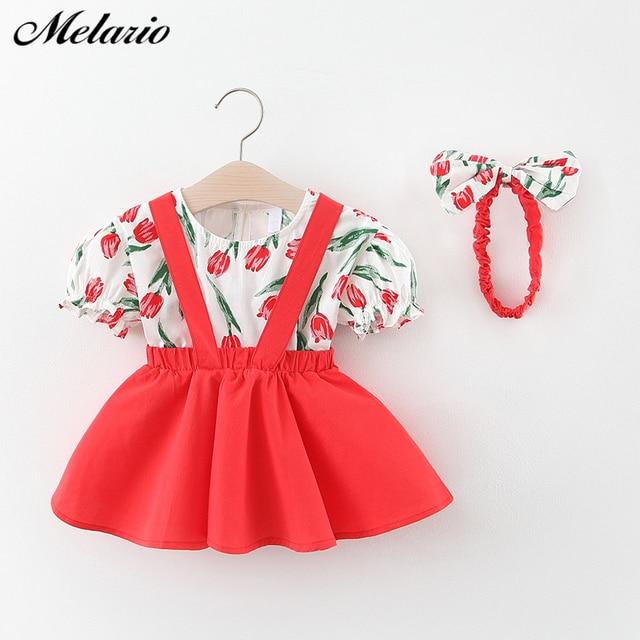 Melario odzież dziecięca dziewczynka ubrania letnia odzież na przyjęcia dla dziewczynek sukienka wiśniowa kropka księżniczka sukienki łuk kapelusz stroje