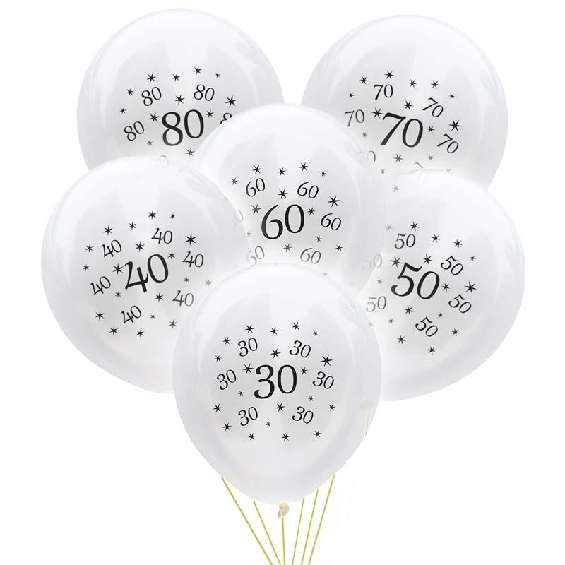 Ballons en Latex pour anniversaire, 10 pièces, 12 pouces, 30 40 50 60 70 80 ans, décorations de fête danniversaire pour adultes, fournitures