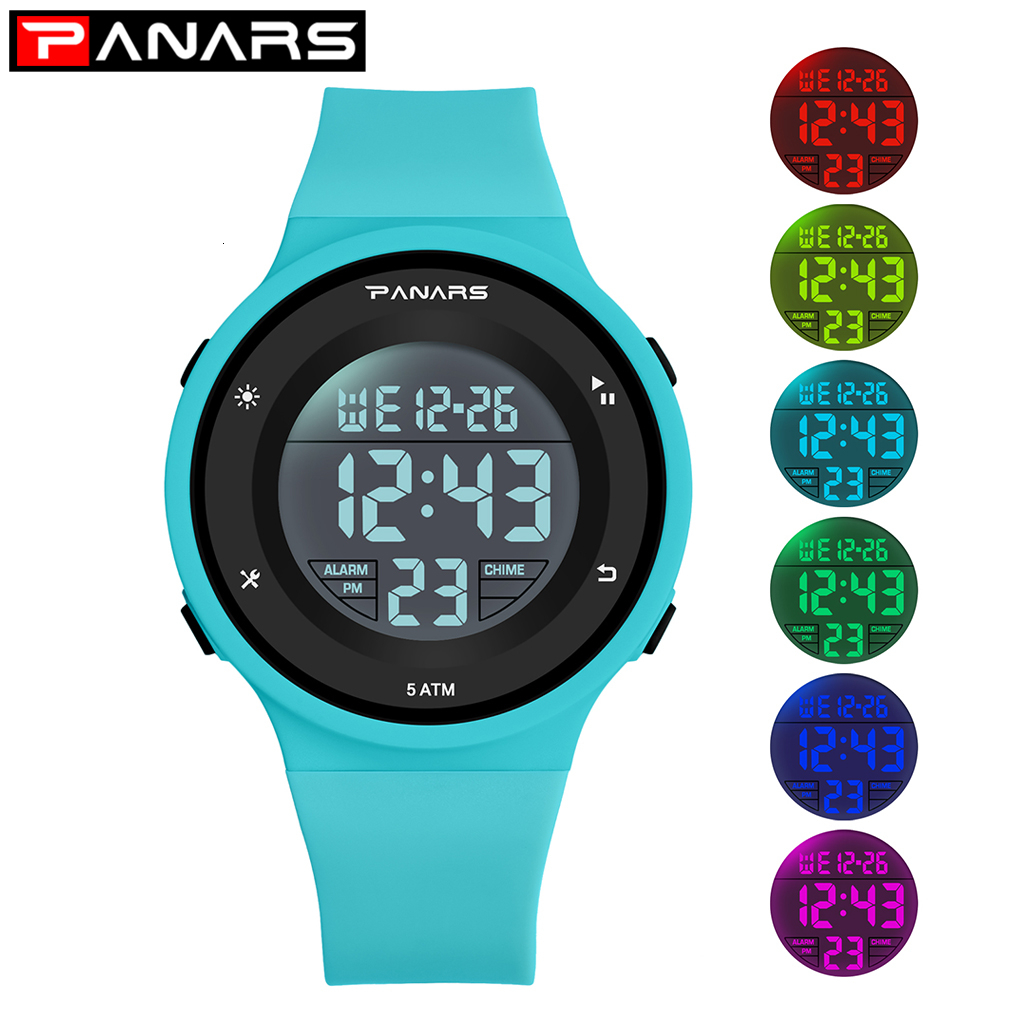 PANARS Blue Clock Kids Digital Watch Girl Boys Sports Watchesfor Children Waterproof LED Luminous Multifunctional Student Alarm