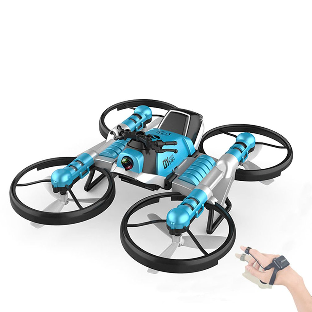 WiFi FPV RC Drone Motorbike 2 in 1 Folding Helicopter RC Quadcopter Motorcycle Drone image