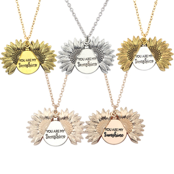 New Keep Going Sunflower Pendant Necklace Women Men Gold Sweater chain Custom letter necklace for Valentine's day gift image