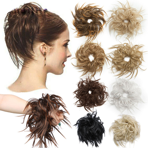 S-noilite Messy Hair Bun Tousled hairpiece Elastic Band Chignon Hair Curly Scrunchie Updo Cover Synthetic Hairpiece For Women
