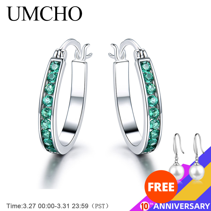 UMCHO 925 Sterling Silver Clip Earrings For Women  Emerald Gemstone Wedding Engagement Fine Jewelry Valentine Gift