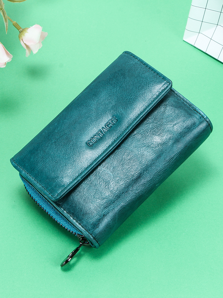 Clutch Wallets Card-Holder Coin Purse Contact's Damski Rfid Portfel Female Genuine-Leather
