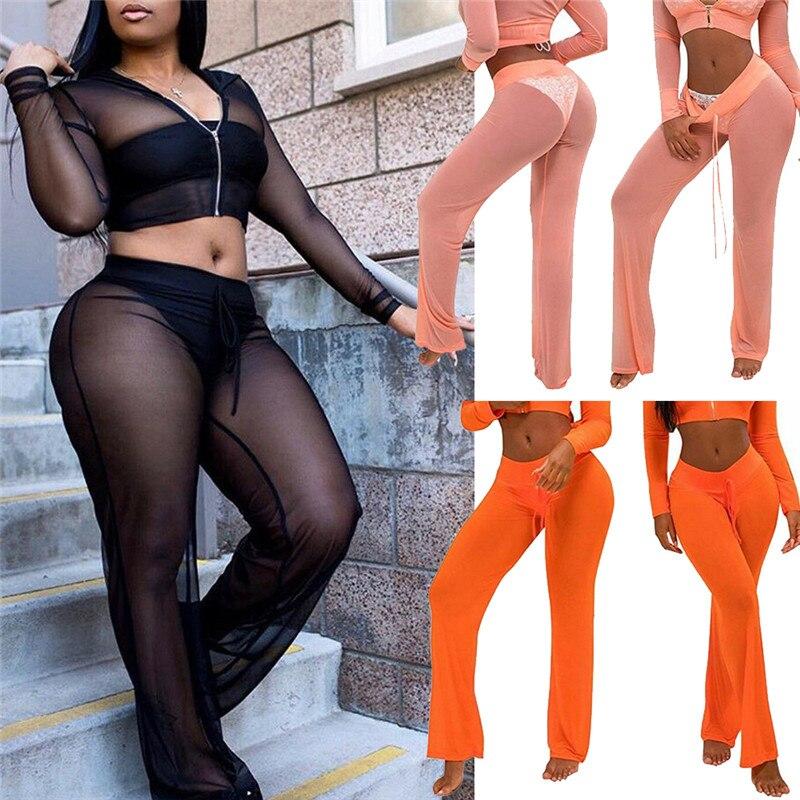 Hot Women Sexy Crochet Fish Net Beach Pants Mesh Sheer Trousers Bikini Cover Up