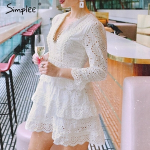 Image 3 - Simplee Hollow out cotton embroidery ruffled women dress A line v neck long sleeve female sexy dress Elegant party midi dress