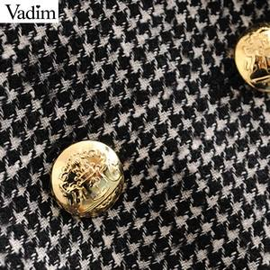 Image 3 - Vadim women formal houndstooth tweed blazer double breasted long sleeve pockets coats office wear casual tops CA601