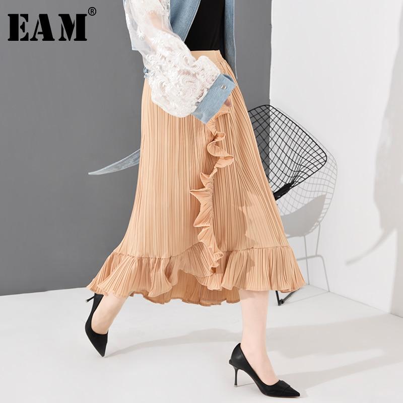 [EAM] High Elastic Waist Khaki Ruffles Asymmetrical Pleated Half-body Skirt Women Fashion Tide New Spring Autumn 2020  JT207