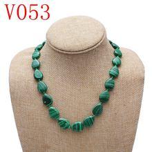 Ожерелье из натурального малахита в форме сердца модное Трендовое
