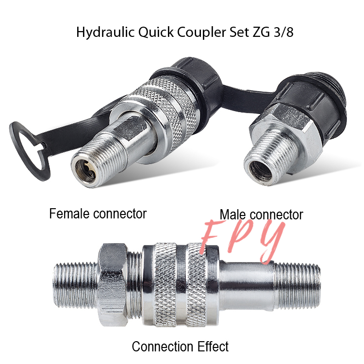 1Pc 3/8'' NPT Hydraulic Quick Coupler  Hydraulic Tools Accessories Hydraulic Quick Couplings Set Zg3/8