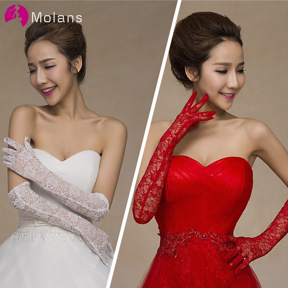 Molans 2020 New Fashion Long Lace Bridal Gloves Bride Dress Finger Gloves For Wedding Engagement Evening Party Accessories