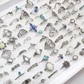 Оптовая продажа 100 шт./лот Ассорти Diy богемные винтажные серебряные кольца на палец с цветком для женщин ювелирные изделия в подарок на вечер...