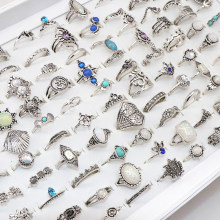 Wholesale 100pcs/Lot Assorted Diy Bohemia Vintage Silver Flower Finger rings For Women Party Gift Jewelry Rings