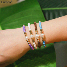 Lacteo Simple Minimalist Colorful Bead Bracelet Bangle for Women Statement Adjustable Rope Chain Female Jewelry Gift